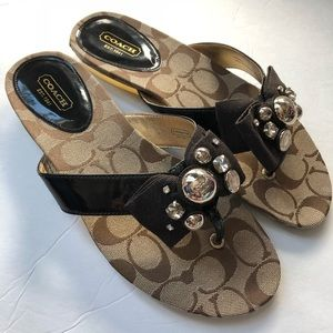 LIKE NEW COACH Sylvia brown embellished sandals 8B